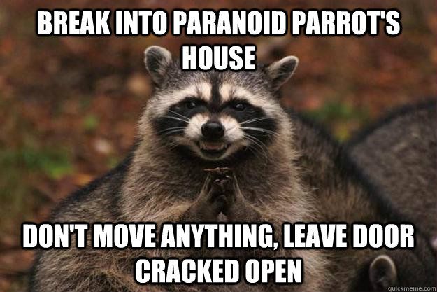 break into paranoid parrots house dont move anything leav - Evil Plotting Raccoon