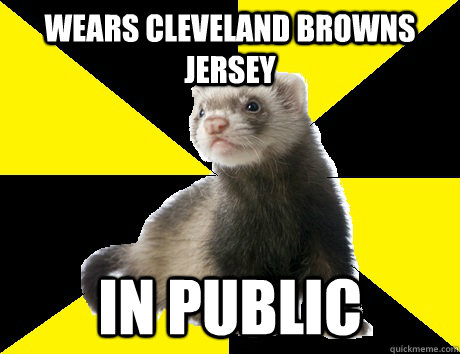 wears cleveland browns jersey in public - Fanboy Ferret