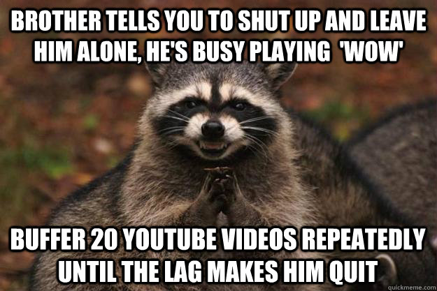 brother tells you to shut up and leave him alone hes busy  - Evil Plotting Raccoon