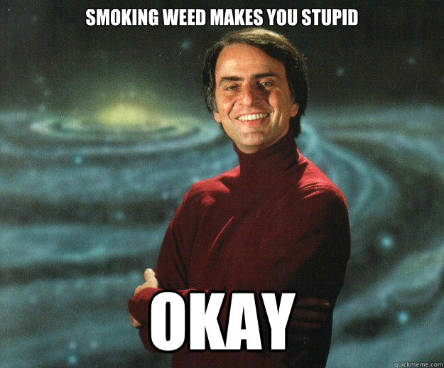 smoking weed makes you stupid okay -