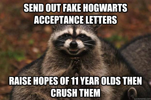 send out fake hogwarts acceptance letters raise hopes of 11  - Evil Plotting Raccoon