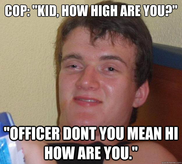 cop kid how high are you officer dont you mean hi how  - 10 Guy