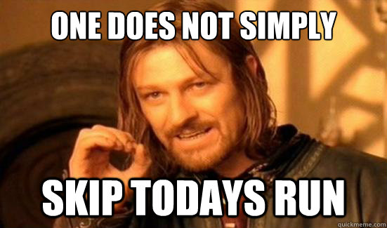 one does not simply skip todays run - Boromir