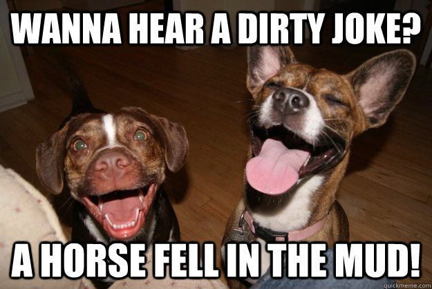 wanna hear a dirty joke a horse fell in the mud - Clean Joke Puppies