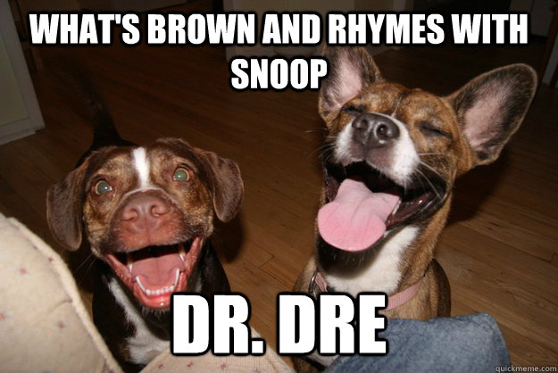whats brown and rhymes with snoop dr dre - Clean Joke Puppies
