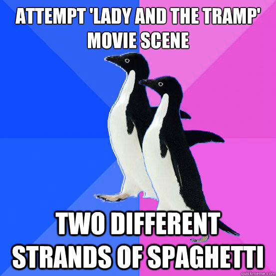 attempt lady and the tramp movie scene two different stran - Socially Awkward Couple