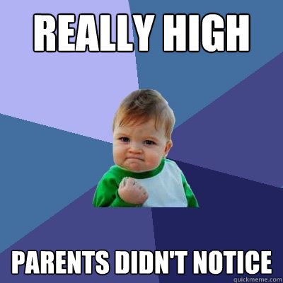 really high parents didnt notice - Success Kid