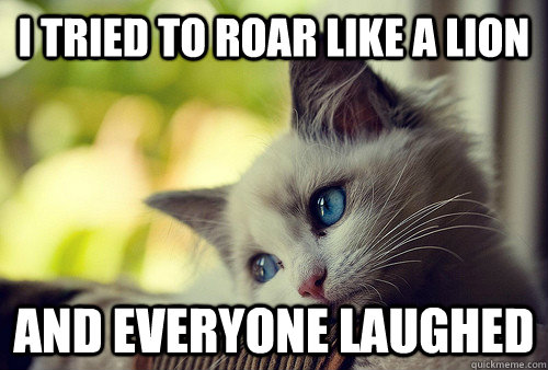 i tried to roar like a lion and everyone laughed - First World Problems Cat
