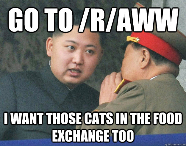 go to raww i want those cats in the food exchange too - Hungry Kim Jong Un