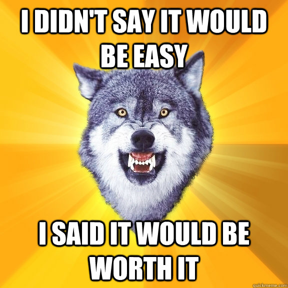 i didnt say it would be easy i said it would be worth it - Courage Wolf