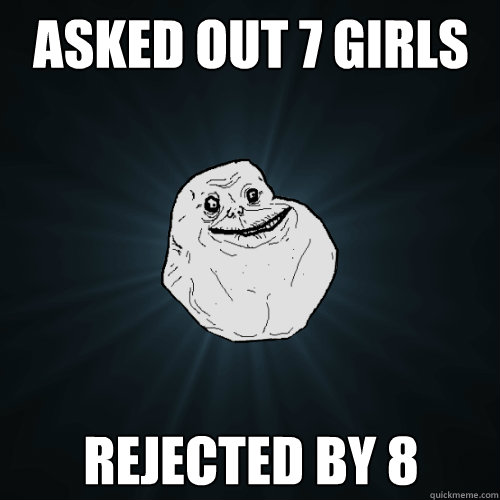 asked out 7 girls rejected by 8 - Forever Alone