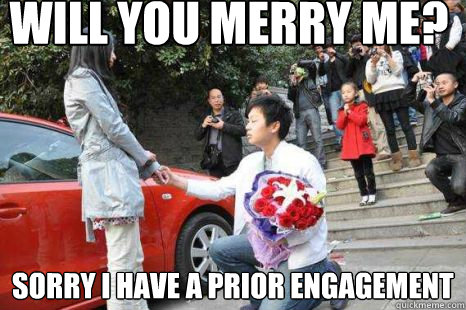 will you merry me sorry i have a prior engagement - the proposal