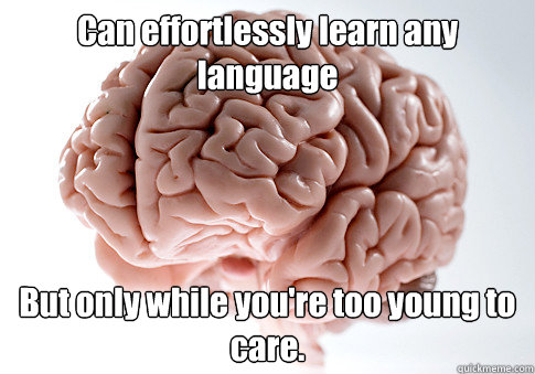 can effortlessly learn any language but only while youre to - Scumbag Brain