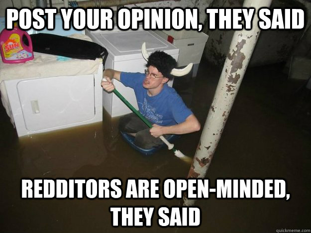 post your opinion they said redditors are openminded they - Laundry Room Viking