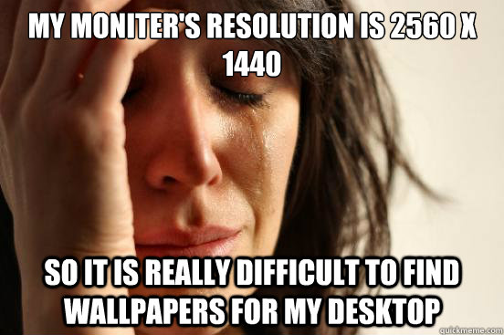 my moniters resolution is 2560 x 1440 so it is really diffi - First World Problems