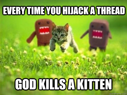 every time you hijack a thread god kills a kitten - God Kills a Kitten