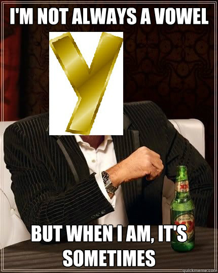 im not always a vowel but when i am its sometimes - The Most Interesting Vowel in the World