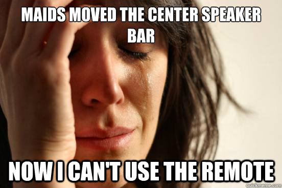 maids moved the center speaker bar now i cant use the remot - First World Problems
