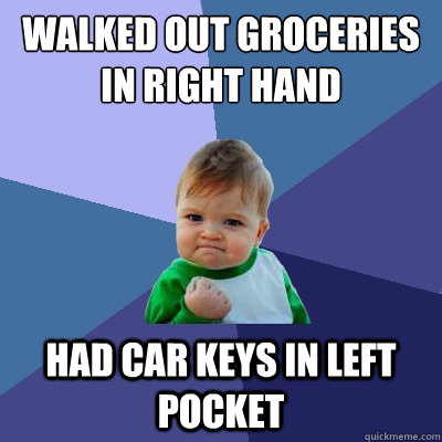 walked out groceries in right hand had car keys in left pock - Success Kid