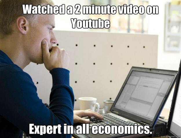 watched a 2 minute video on youtube expert in all economics - Programmer