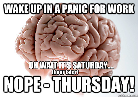 wake up in a panic for work nope thursday oh wait its s - Scumbag Brain