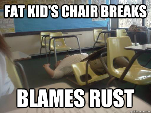 fat kids chair breaks blames rust - fat kid chair