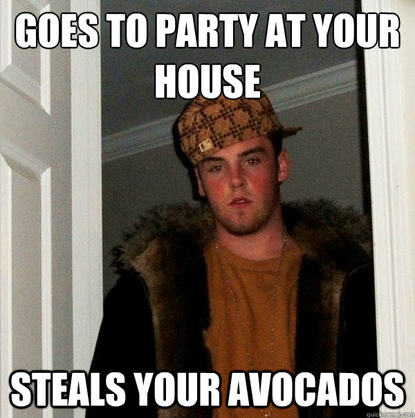 goes to party at your house steals your avocados - Scumbag Steve