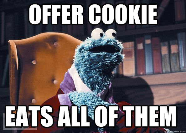 offer cookie eats all of them - Cookie Monster