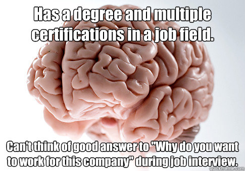 has a degree and multiple certifications in a job field can - Scumbag Brain