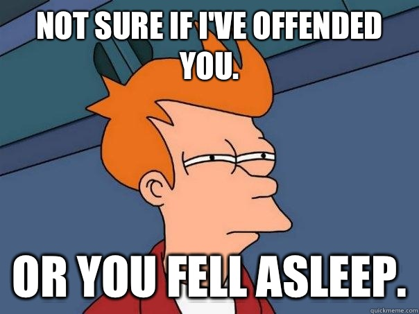 Not sure if Ive offended you Or you fell asleep - Futurama Fry