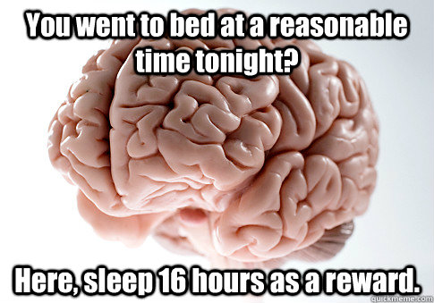 you went to bed at a reasonable time tonight here sleep 16 - Scumbag Brain
