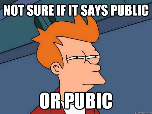 not sure if it says public or pubic - Futurama Fry
