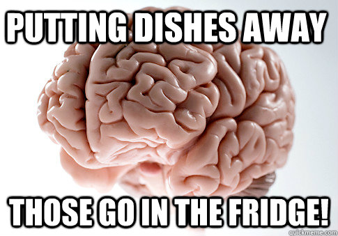 putting dishes away those go in the fridge  - Scumbag Brain