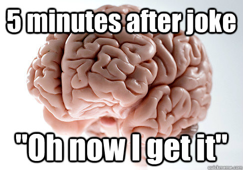 5 minutes after joke oh now i get it  - Scumbag Brain