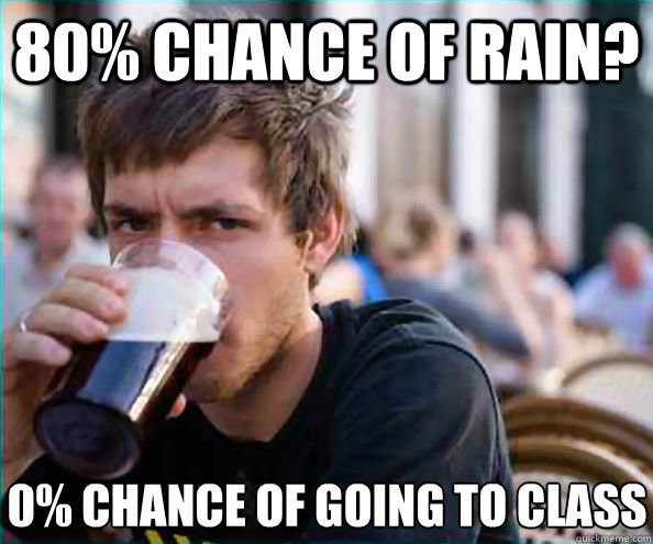 80 chance of rain 0 chance of going to class - Lazy College Senior