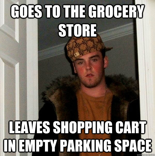 goes to the grocery store leaves shopping cart in empty park - Scumbag Steve