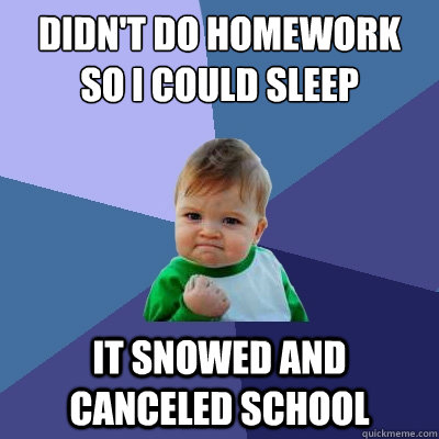 didnt do homework so i could sleep it snowed and canceled s - Success Kid