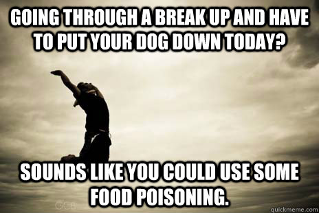going through a break up and have to put your dog down today - Scumbag Life