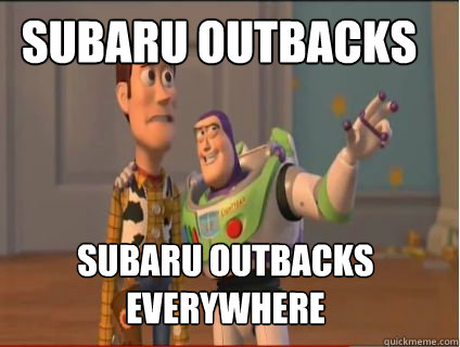 subaru outbacks subaru outbacks everywhere - woody and buzz
