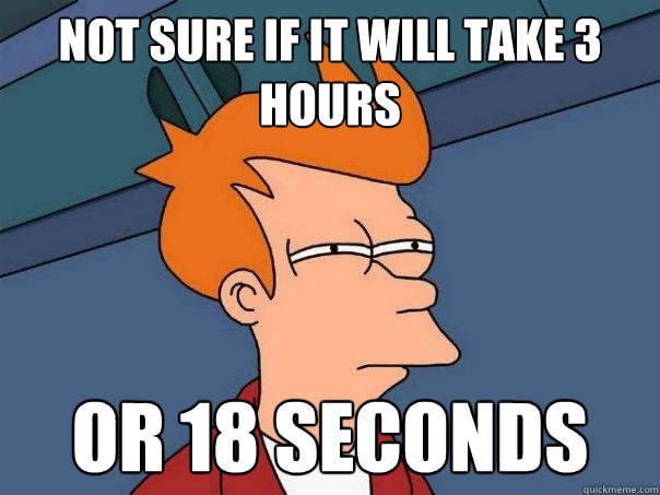 not sure if it will take 3 hours or 18 seconds - Futurama Fry