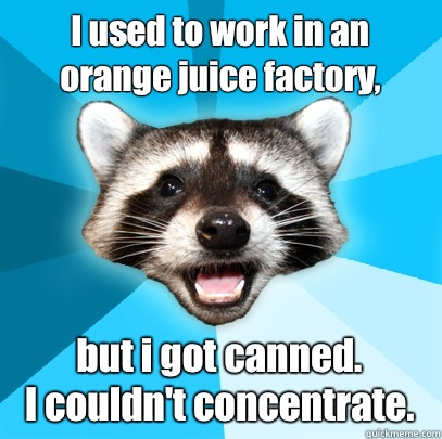 I used to work in an orange juice factory but i got canned I - Lame Pun Coon