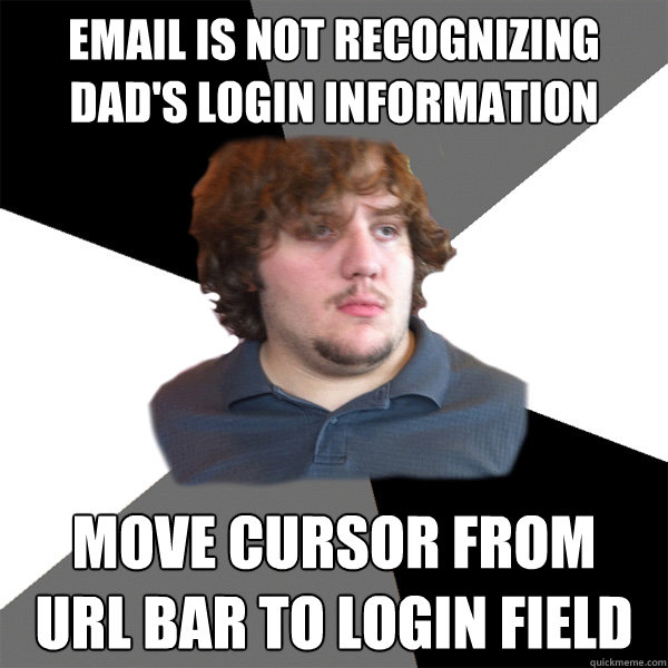 email is not recognizing dads login information move cursor - Family Tech Support Guy