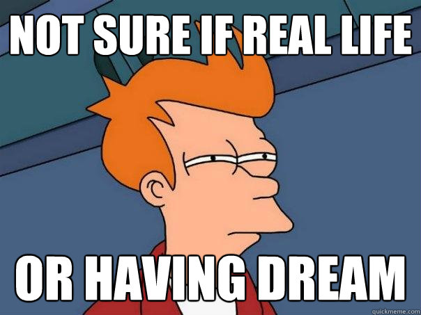 not sure if real life or having dream - Futurama Fry