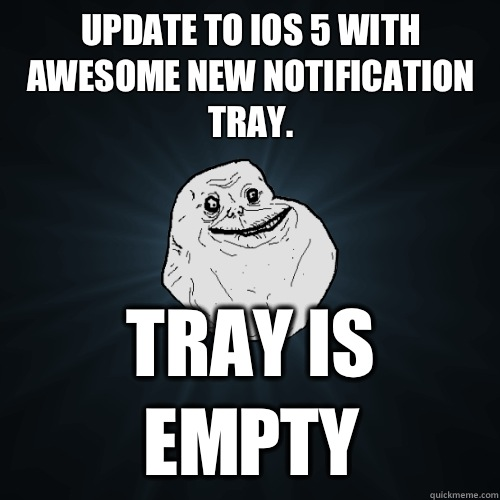 Update to iOS 5 with awesome new notification tray Tray is e - Forever Alone