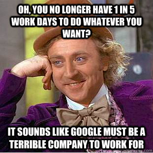 oh you no longer have 1 in 5 work days to do whatever you w - Condescending Wonka