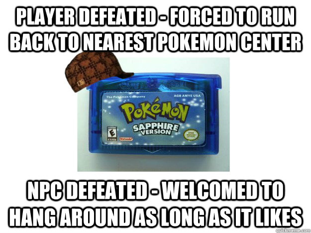 player defeated forced to run back to nearest pokemon cent - Scumbag Pokemon Game