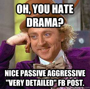 oh you hate drama nice passive aggressive very detailed  - Condescending Wonka