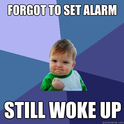 forgot to set alarm still woke up - Success Kid