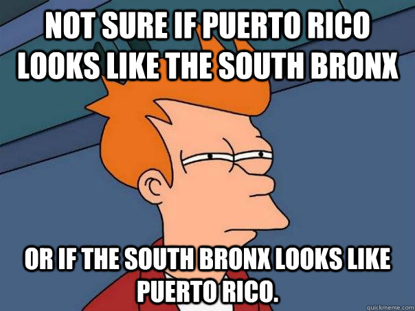 not sure if puerto rico looks like the south bronx or if the - Futurama Fry