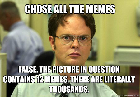 chose all the memes false the picture in question contains  - Dwight